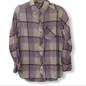 Old Navy Purple Lilac Plaid Button Down Medium